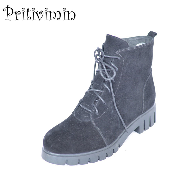 2017 New winter ladies warm real fur lined shoes woman black suede leather thick low heel lace up ankle boots Pritivimin FN50 us 6 10 mens black genuine leather lace up fur lined ankle boots winter warm oxford dress shoes