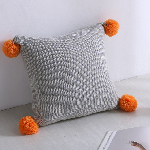 Free Shipping Christmas Gift Cotton Solid Color Knitted Cushion