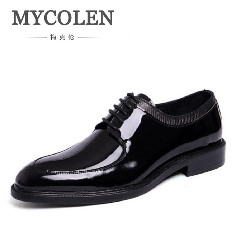 MYCOLEN Brand Genuine Patent Leather Shoes Men Pointed Toe Oxfords Business Office Dress Shoes Scarpe Classiche Uomo Punta каталог punta