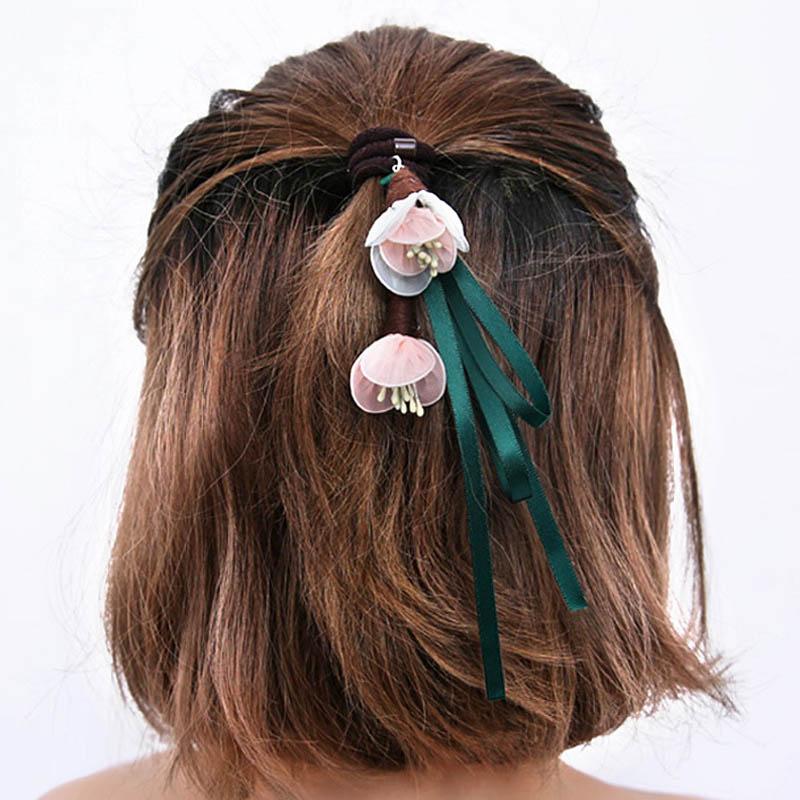Fashion 1PC Sweet Three-Dimensional Flower Shape Ribbon Hair Rope Elastic Ponytail Hair Band Gift 4 Colors