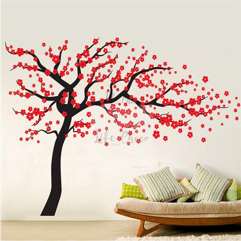 Fleurs fleur arbre mur vinyle Stickers enfants pépinière décoration grande taille fleurs arbre Stickers muraux arbres mur Art AC203
