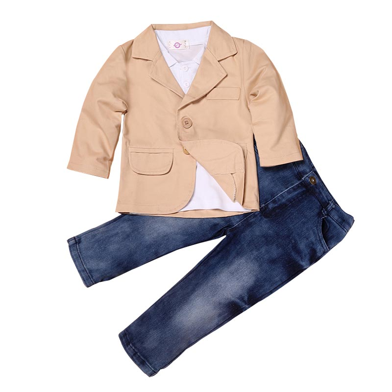 Kids Boys 3 Pcs Clothes Set Pure Color Suit Gentleman Casual Shirt +Khaki Coat+Denim Jeans