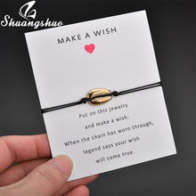Shuangshuo Fashion Jewelry Shells Bracelet for Women Charms Bracelets Gold Seashell Black Rope Chain Bracelet homme femme 2019(China)