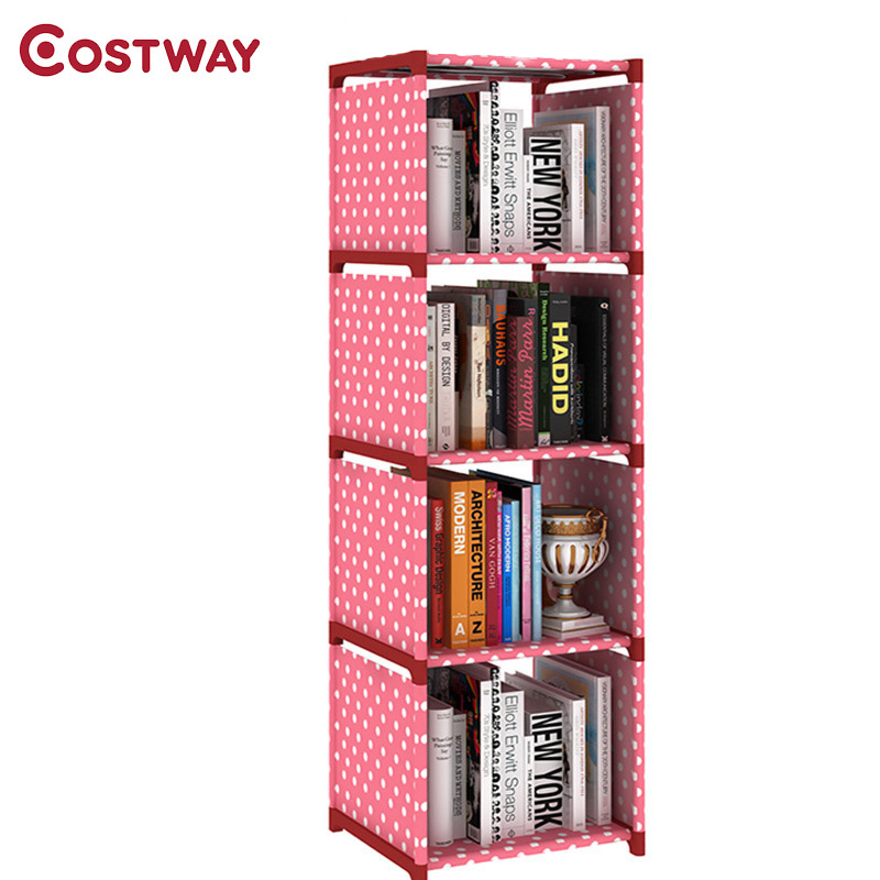 COSTWAY Fashion Simple Non-woven Bookshelves Four-layer Dormitory Bedroom Storage Shelves Bookcase Boekenkast Librero W0111 360 degree rotation simple bookshelves multi storey floor bookcase shelves children s dormitory shelter