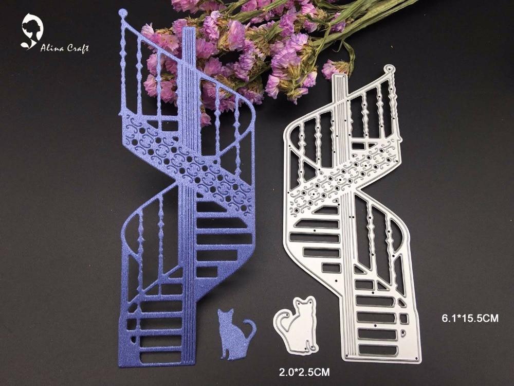 troqueles escalera de caracol de metal gato tarjeta de lbum del libro de recuerdos del arte