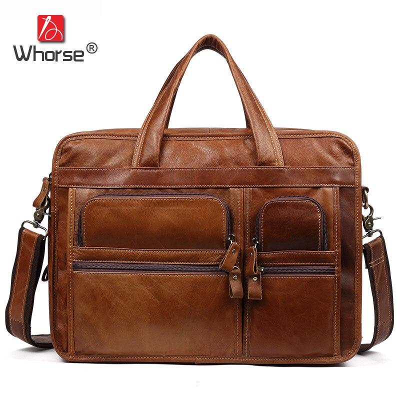 Бренд ручной работы из натуральной кожи Бизнес Портфели Для мужчин натуральной 14 ноутбук сумка через плечо Курьерские сумки W9913