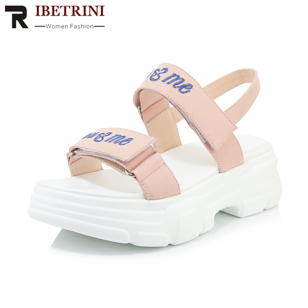 RIBETRINI 2019 New Sweet Genuine Cow Leather Shoes Sandals Women Summer Platform Women Casual Shoes Woman Size 34-40RIBETRINI 2019 New Sweet Genuine Cow Leather Shoes Sandals Women Summer Platform Women Casual Shoes Woman Size 34-40