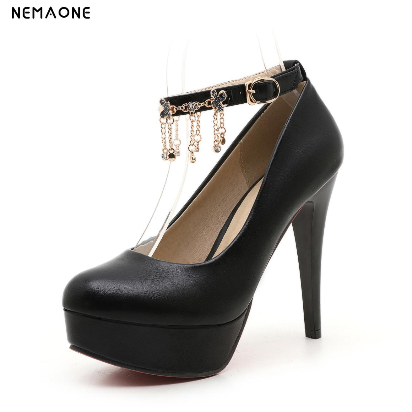NEMAONE Women Super High Heels Decor Sexy Party Pumps 2017 Spring Thin Heel buckle Round Toe Lady Platform Shoes cicime women s heels thin heel spikes heels solid slip on wedding fashion leisure casual party dressing high heel platform pumps