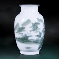 Jingdezhen ceramic vases dried flowers ornaments, Chinese painting landscape arts and crafts living room TV cabinet decoration