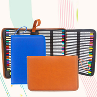 3 Layers Folding Pencil Case School High End PU Oxford Cloth Contains 72 Holes Waterproof Versatile