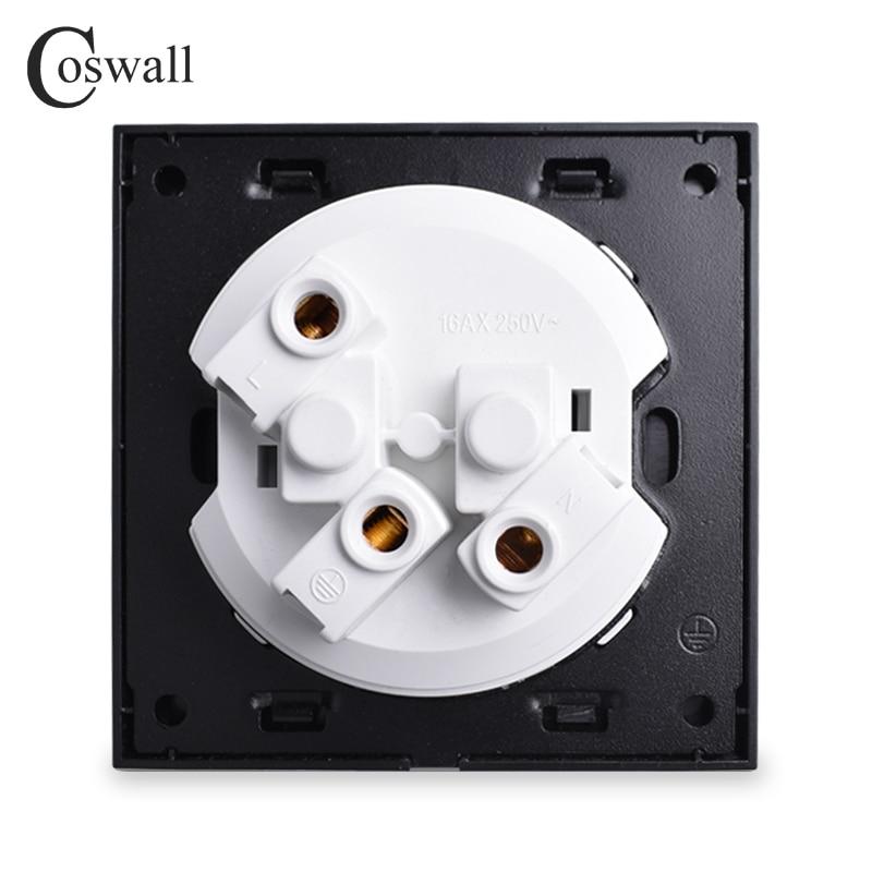Coswall lujoso Panel de aluminio negro 16A toma de corriente de pared estándar de la UE con conexión a tierra con bloqueo de protección infantil