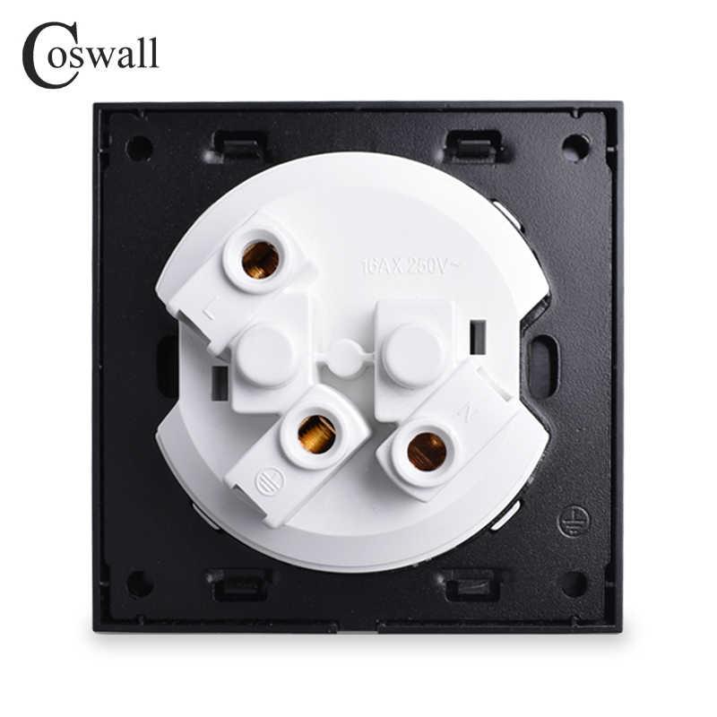 Coswall luksusowy czarny panel aluminiowy 16A standard ue zasilanie ścienne gniazdko uziemiony z zabezpieczeniem przed dziećmi