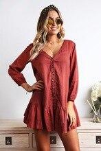 S-XL women v neck long sleeve mini dress autumn spring single breast loose casual leisure