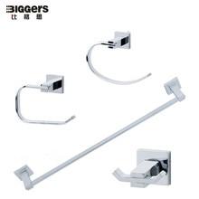 free shipping biggers zinc alloy chrome finish square bathroom accessories set 4pcs robe hook towel bar towel ring paper holder