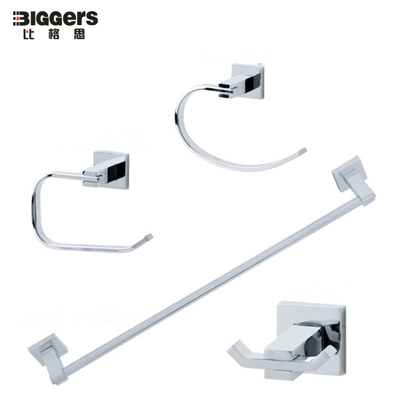 free shipping biggers zinc alloy chrome finish square bathroom accessories set 4pcs robe hook towel bar