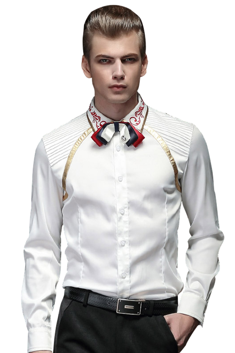 FanZhuan Free Shipping New male long sleeved men's fashion casual spring shirt Wrinkle gilding embroidery white 15205 Korean man