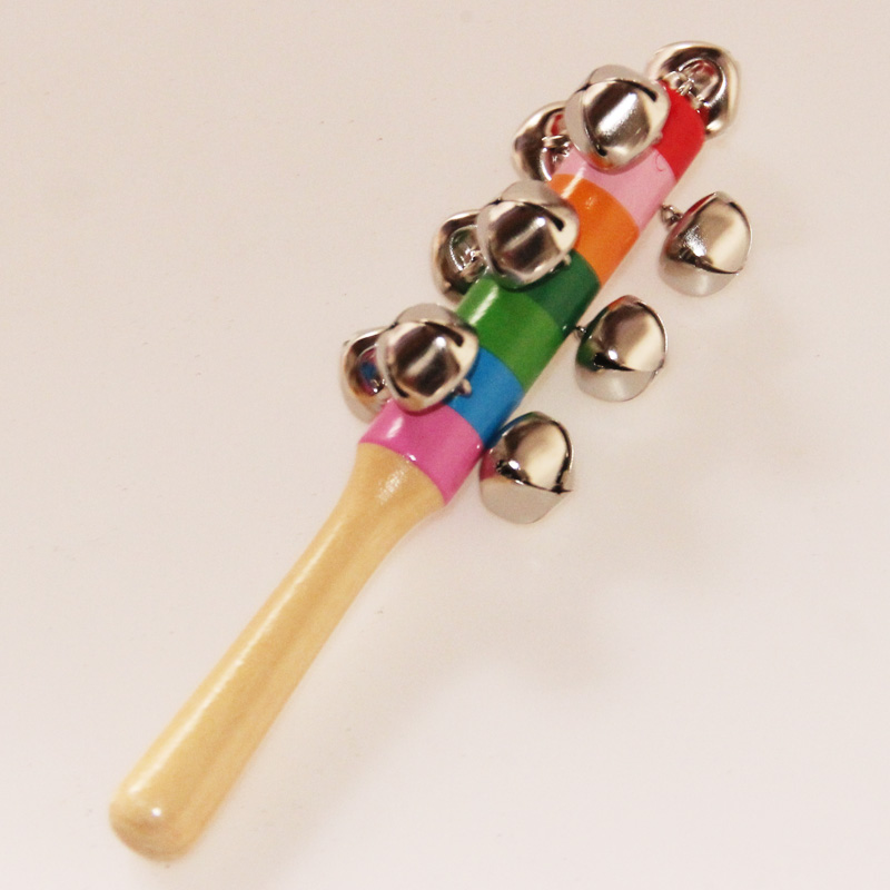 Hot Colorful Rainbow Hand Held Bell Stick Wooden Percussion Musical Toy For KTV Party Kids Game Wholesale Retail