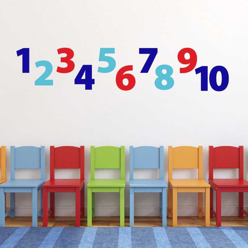 Number wall decals for kids Playroom Vinyl decal Children ...
