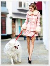 Original 2016 Brand Autumn and Winter Abrigos Mujer Plaid Fur Collar Slim Casual Elegant Wool Long Women Coat Women Wholesale