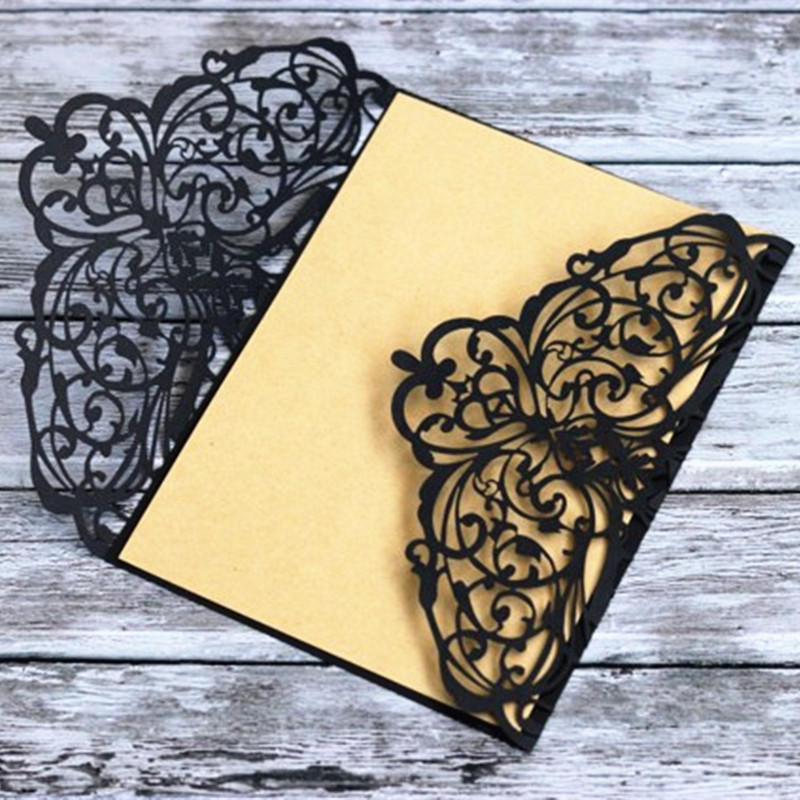 Black wedding card invitation floral Autumn marriage anniversary gift card 50pcs in Cards Invitations from Home Garden