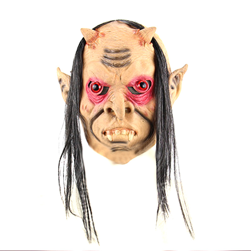 New Halloween Scary Ghost Adult Mask Latex Full Face Red Eyes Long Hair Wig Horror Masks Masquerade Party Cosplay Props TY