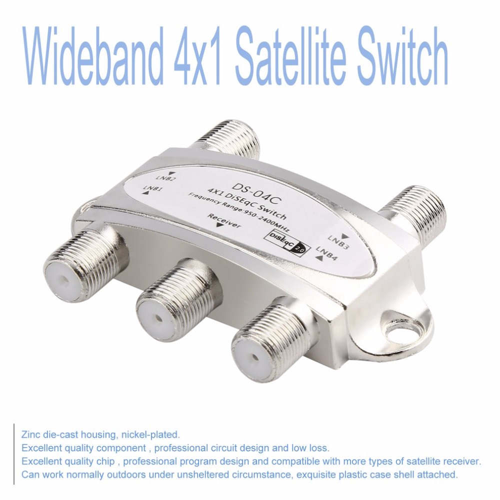 Image 4 - 4 in 1 4 x 1 DiSEqc 4 way Wideband Switch DS 04C High Isolation Connect 4 Satellite Dishes 4 LNB For Satellite Receiver-in Satellite TV Receiver from Consumer Electronics