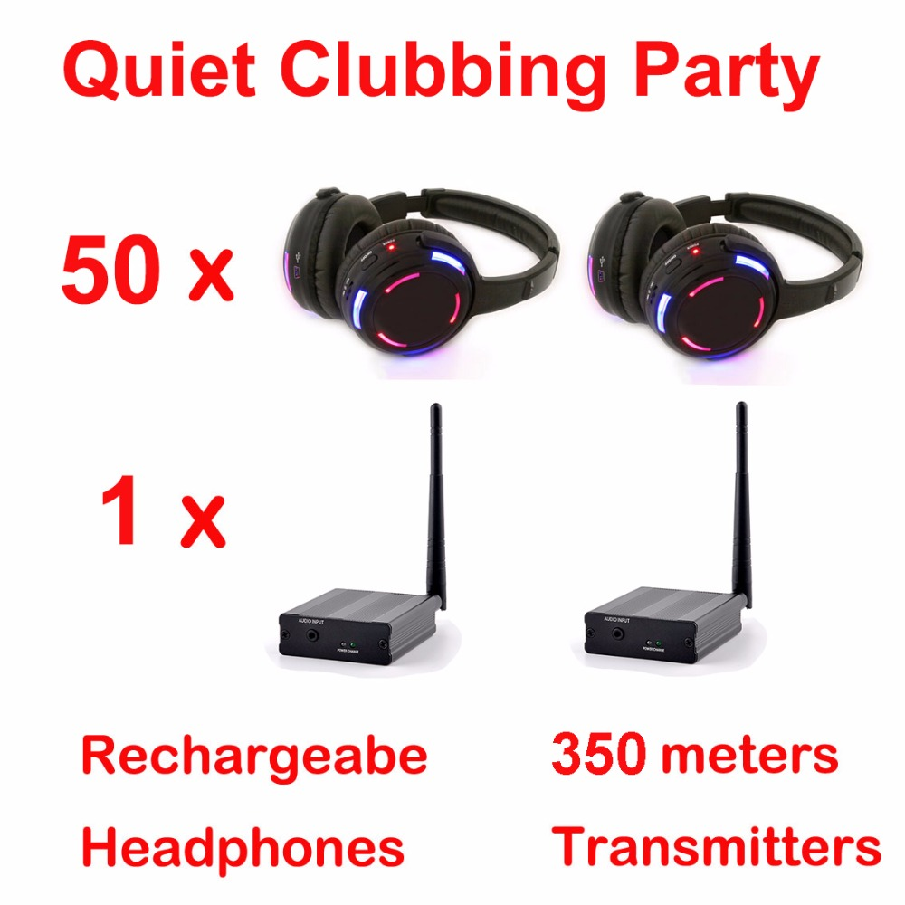 Silent Disco complete system black led wireless headphones - Quiet Clubbing Party Bundle (50 Headphones + 1 Transmitters)