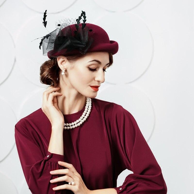 d78b42eeaa2ca0 100% Wool Hats for Women Elegant Vintage Wedding Church Hat Ladies Formal  Floral England Style Party Church Fedora Cap B-7452