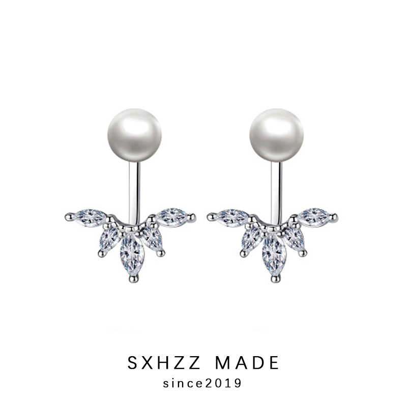 SXHZZ Design Stud Earrings Simple Stimulated-Pearl Fashion Leaf Round Pearl Gift for Women Metal High Quality Accessory Jewelry