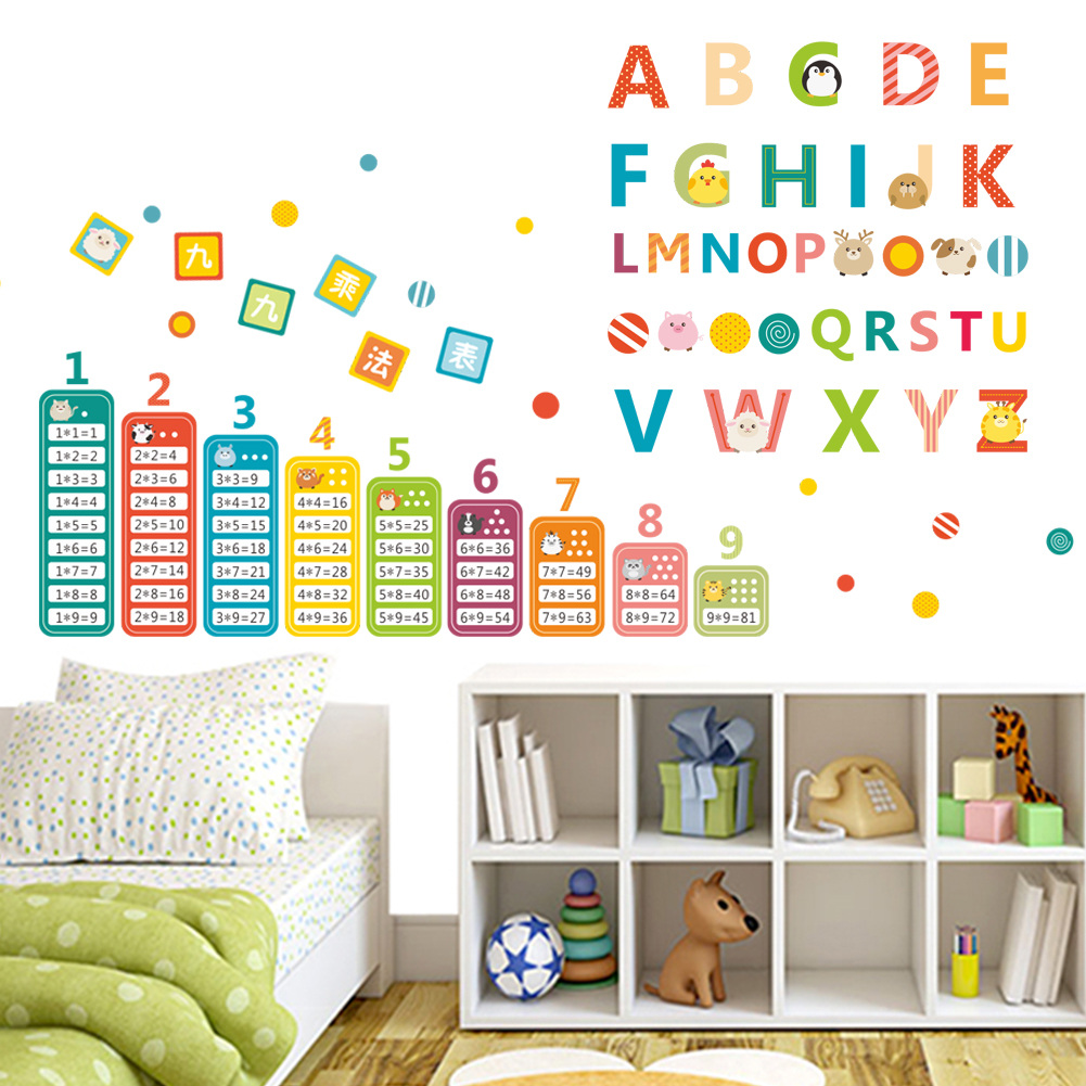 Aliexpress.com : Buy Children Teaching Tools Animals English Alphabet Nine  Multiplication Tables Kids Room Nursery Wall Sticker Home Decor Decal From  ... Part 65