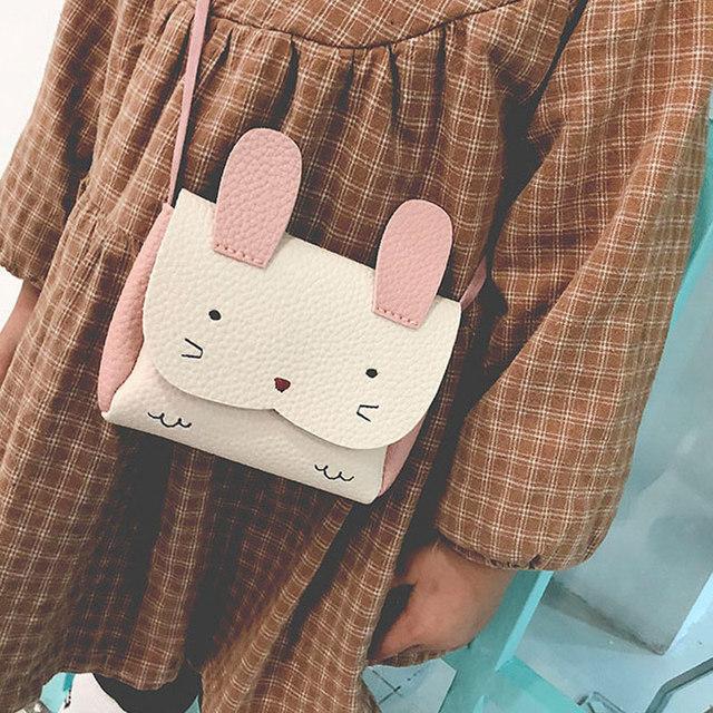 Children Kids Girl Crossbody Shoulder Leather Bag Rabbit Coin Purse