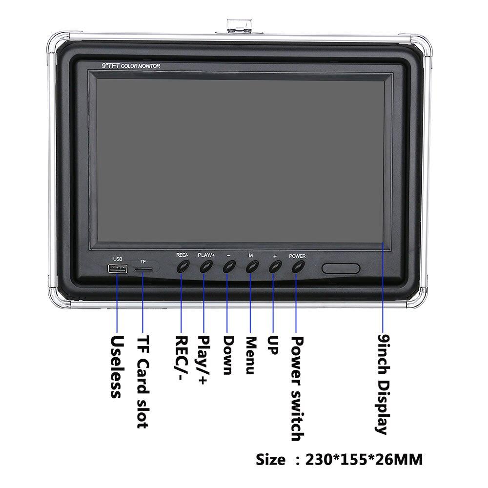 9 дюймов DVR рекордер 20 М Подводная рыболовная видеокамера рыболокатор IP68 Водонепроницаемый 38 светодиодов вращающаяся на 360 градусов камера