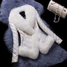 Savabien Furry Faux Fur Collar Long Sleeve Leather Jacket Ladies Fake Fur Jacket Warm Slim Parka Short Faux Fur Coat Outerwear