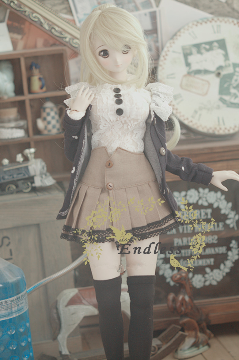 Pretty Students Uniform Outfit Suit (4pcs) for BJD Girl 1/4,1/3, DDDY DDL DDM Doll Clothes Clothing CW40 sweetie chocolate mousse european retro outfit dress suit for bjd doll 1 6 yosd doll clothes lf9