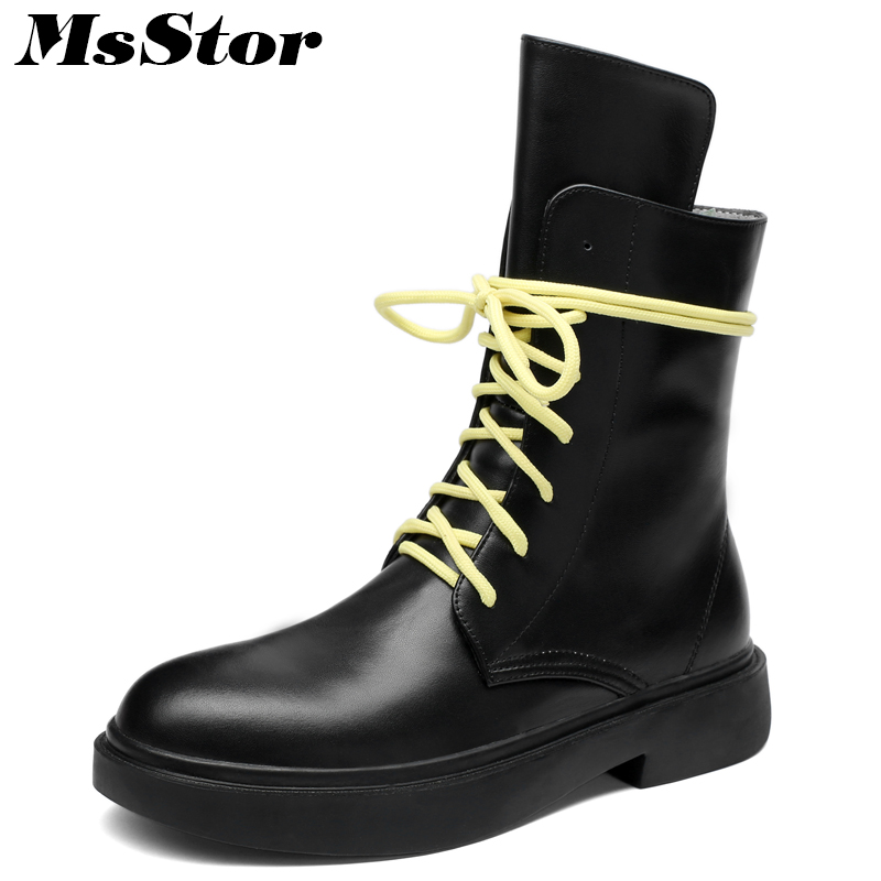 MsStor Round Toe Thick Bottom Women Boots Fashion Platform Cross-tied Ankle Boots Women Shoes Elegant Black Boots Shoes Woman msstor round toe thick bottom women boots casual fashion concise ankle boots women shoes mature elegant platform boots women