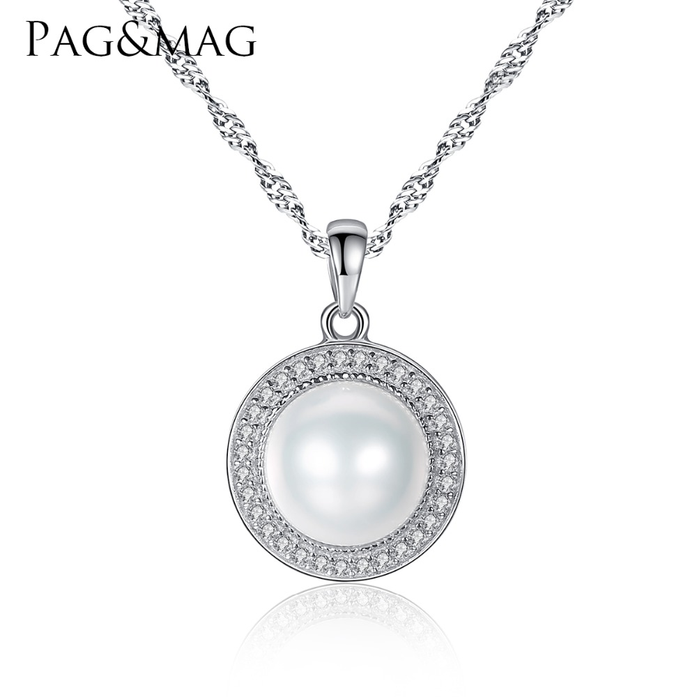 PAG & MAG Classic Round 925 Sterling Silver Hängsmycke Halsband med 9-9.5mm Pärlor Natural Freshwater Pearl Fine Smycken Hot001