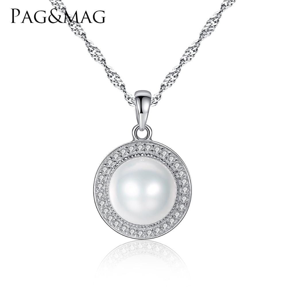 PAG & MAG Classic apvalus 925 sidabro pakabukas su 9-9,5 mm perlais, natūralus gėlavandeniai perlai