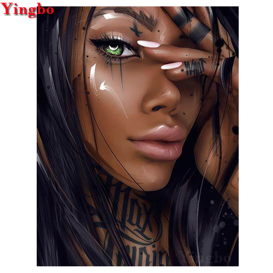 5D DIY diamond Painting African woman full square round drill black beauty Needlework embroidery Mosaic Cross Stitch wall decor in Diamond Painting Cross Stitch from Home Garden
