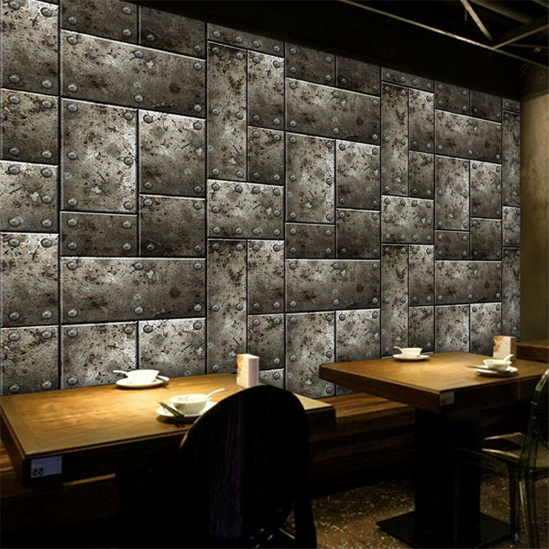 Beibehang Custom 3D Stereoscopic Large Mural Personality Simple Metal Theme Restaurant Hotel Lounge Bar KTV Wall Photo Wallpaper