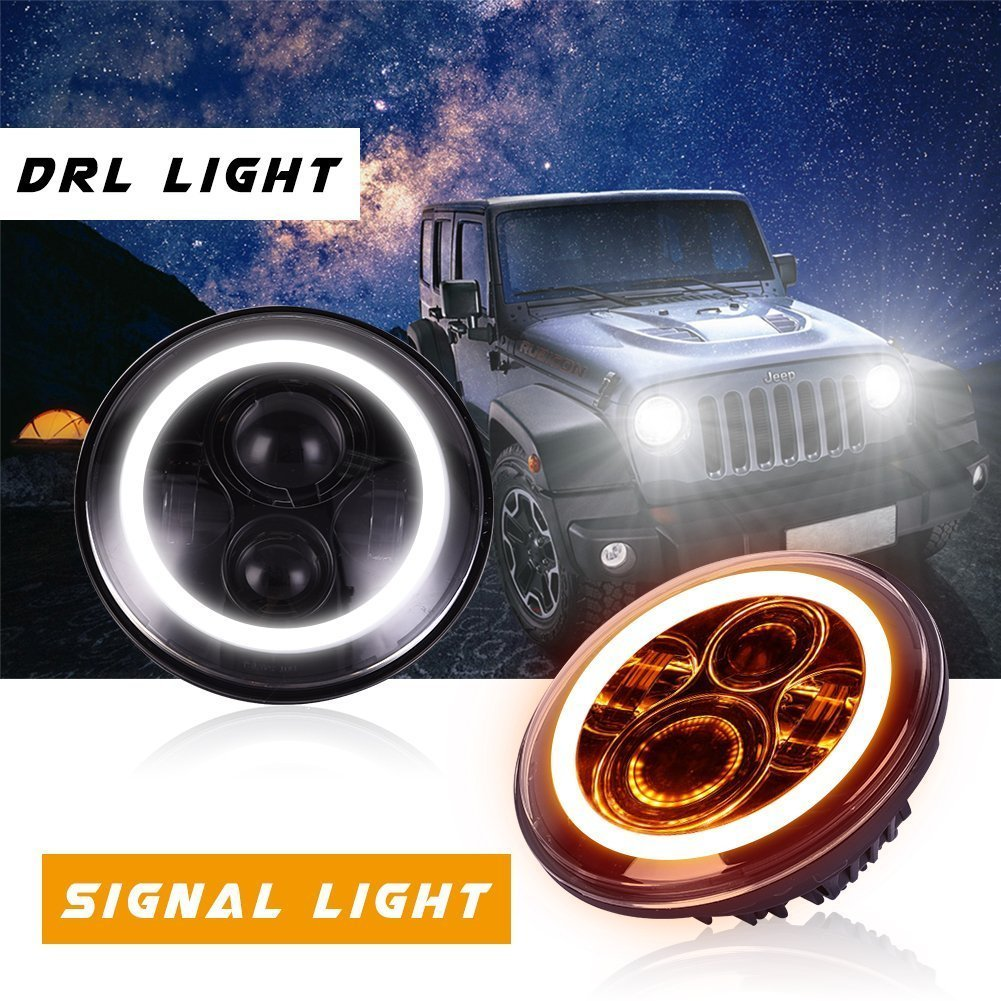 Car Headlight Bulbs(led) Back To Search Resultsautomobiles & Motorcycles 2pcs/set 7 75w Led Headlight H4 H13 Round Shape Headlights With Yellow & Amber Angel Eyes For Offroad Jeep Wrangler Bike J3 Online Shop