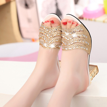 Genuine leather high-heeled rhinestone sandals spring summer women's diamond sandals sexy open toe shoes plus size 41 slippers