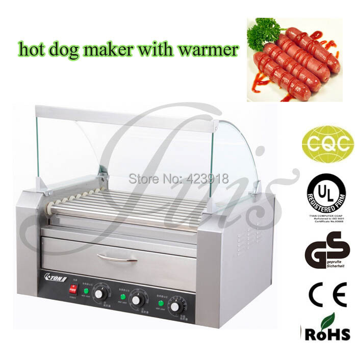 ELECTRIC 9 ROLLERS GRILL SNACK MACHINE with bread 8L warmer Roller Grill Hot Dog maker