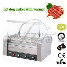 ELEKTRISCHE 9 ROLLEN GRILL SNACK MASCHINE mit brot 8L wärmer Roller Grill Hot Dog maker