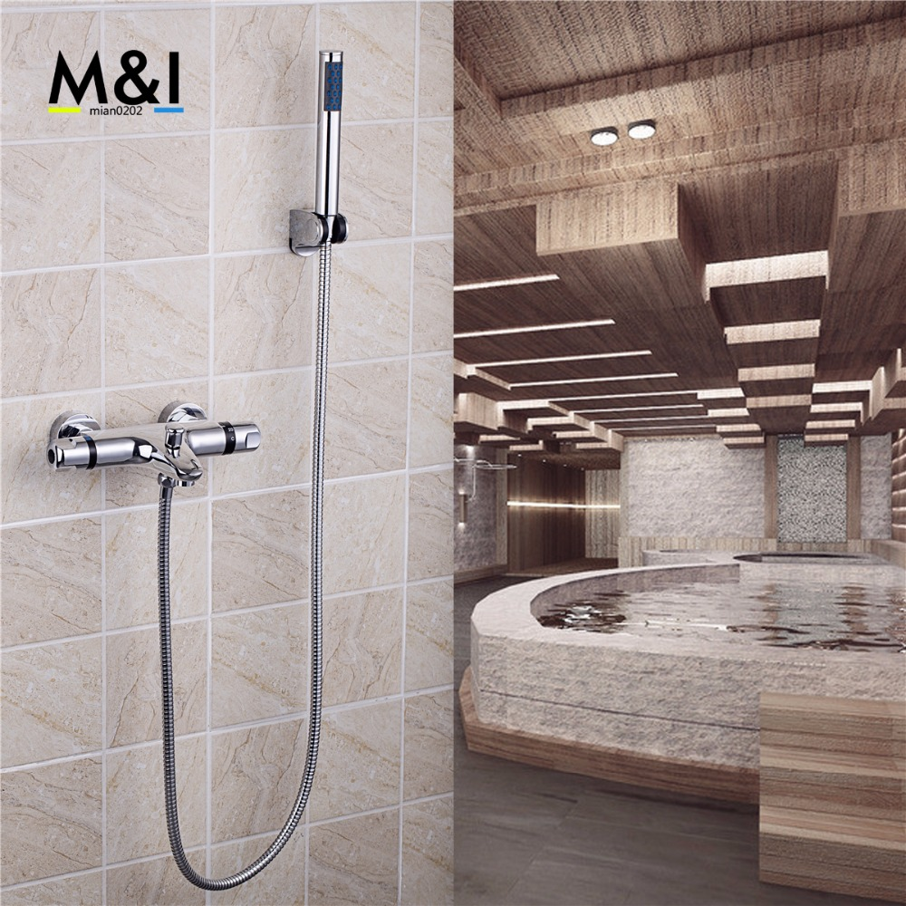 Bathroom Wall Mounted Bathroom Faucet Polished Chrome Hot&Cold Water Mixer Tap Shower Set Rain Bathtub Faucets Set sognare new wall mounted bathroom bath shower faucet with handheld shower head chrome finish shower faucet set mixer tap d5205