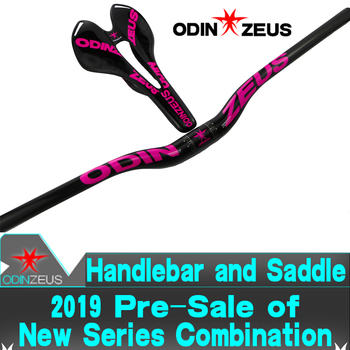 ODINZEUS 2019 New Hot-Pink HOT Sale Full Carbon Flat/Rise Handlebar MTB/Road Bike Handlebar + Bicycle Carbon Saddle bicycle part