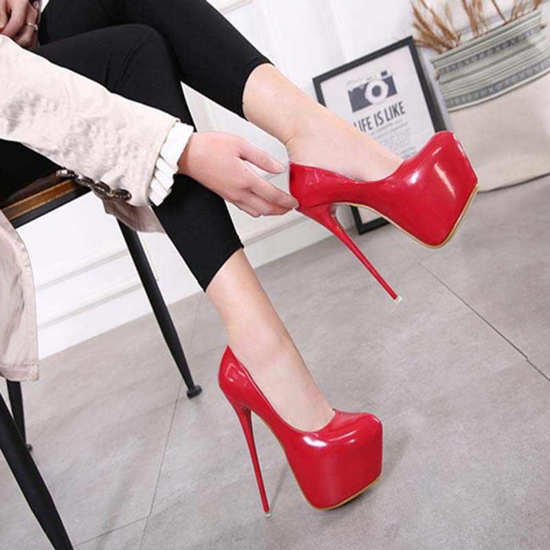 2019 Kadın Yüksek Topuklu Pompalar Bahar/Sonbahar Moda Pompaları parti ayakkabıları 16 cm platform ayakkabılar Seksi Düğün Ayakkabı Kadınlar Için