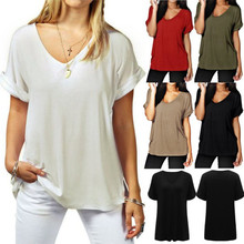 2018 Women Large Size Tee Shirt Summer Tops V neck Short Sleeve Casual Loose Tee Shirts Ladies Plus Size Cotton Tshirt Female