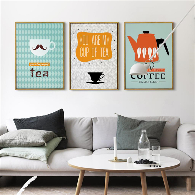 Haochu Nordic Cartoon Moustache On Coffee Cup Kettle Geometric Pattern  Picture Canvas Painting For Home Kitchen. Ny Kitchen Cafe Counter