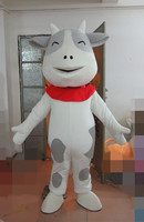 The lovely cow mascot costume adult size white belly dog black spots cow mascot costume Holiday special clothing