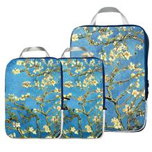 Kostki do pakowania organizator podróży zestaw 3 szt -kostki do pakowania kompresyjnego do bagażu Carryon tanie tanio Torby podróżne NYLON Klasyczny zipper Floral JsMart